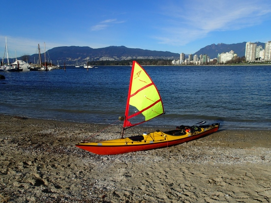The Falcon Kayak Sail on a landed kayak