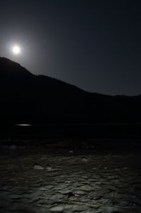 moonrise over mountains