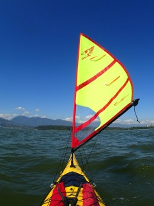 A Falcon Sail on the bow of a kayak