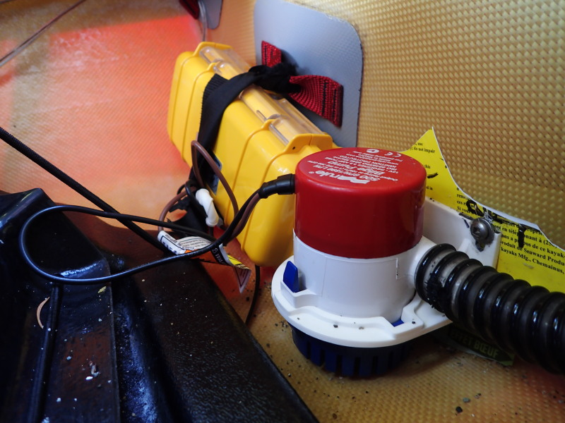 Electric pumps for sea kayaks the why and the how kayakwriters blog the second pump in place against the bulkhead freerunsca Choice Image
