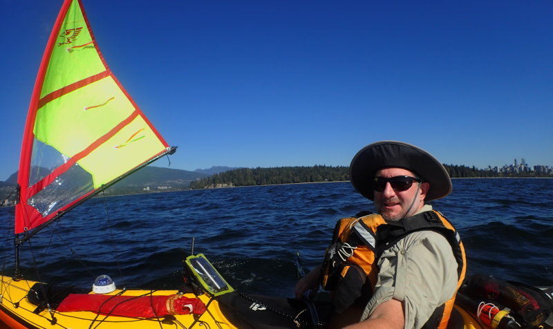 a selfie with the Falcon kayak sail