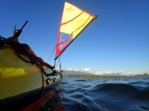 A view from sea level of the Falcon kayak sail