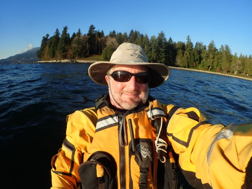 a paddler in a drysuit