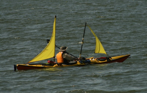 home-made sails on a sea kayak