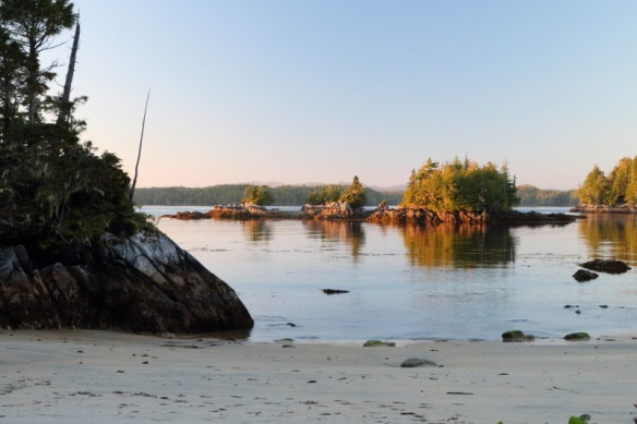 islets in the golden light of evening