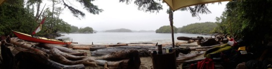 a view of the seascape from under a camp tarp