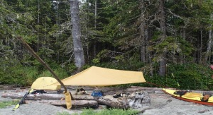 the tent and tarp on Wolf Beach