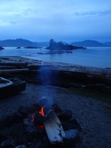 a campfire on the beach in twilight