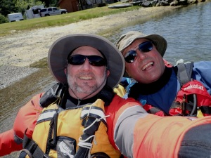 Two happy kayakers in a selfie