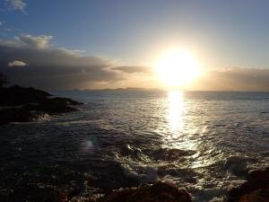 sunset over a seascape horizon