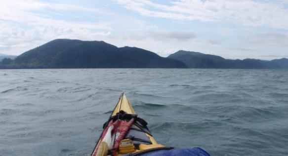 my kayak's bow in wavy seas