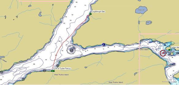 chart section showing a kayak route