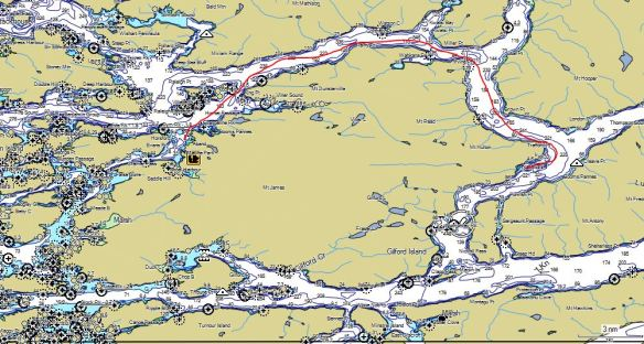 a map showing the route from the Paddler's Inn to Kumlah Island