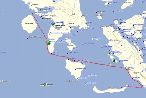 a map showing the route of my kayak voyage on August 22