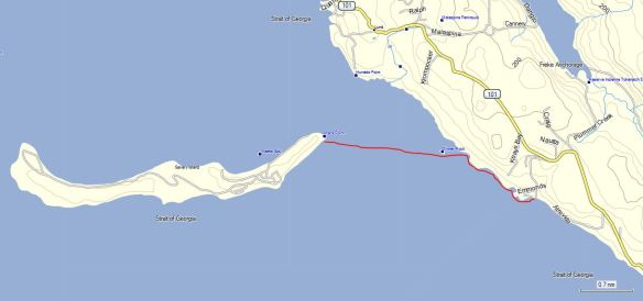 a map showing the route of my kayak voyage on August 23