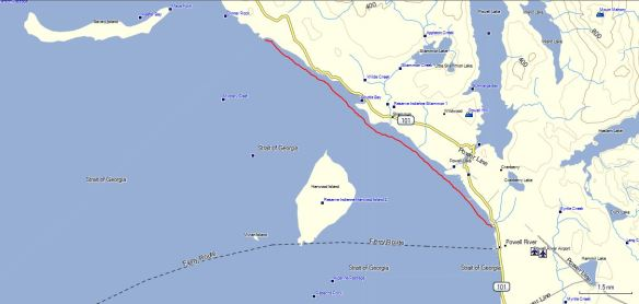 a map showing the route of my kayak voyage on August 25