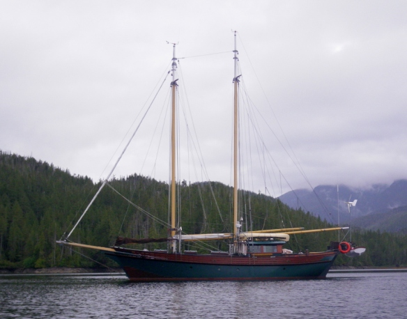 a two masted wooden sailing ship