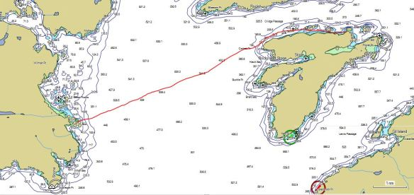 a marine chart with a course line in red