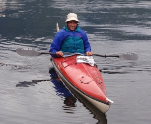 Andy Linger, sitting in his sea kayak