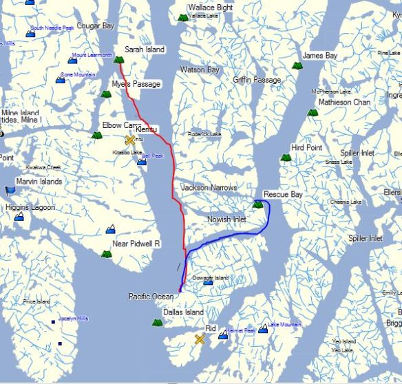 A map with a kayak route traced in red and blue