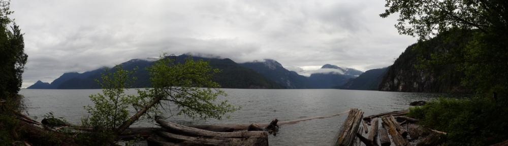 a panoramic view of Pitt Lake