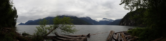 a panoramic view of Pitt Lake