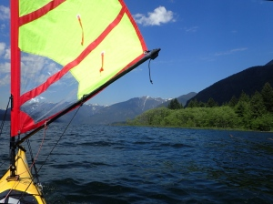 The paddler's eye view of a kayak sail