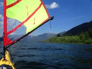 The paddler's eye view of a kayak sail