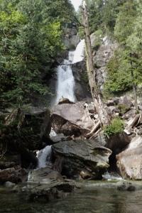 A waterfall cascades down the rocks