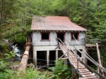 The dilapidated turbine building at Butedale, BC