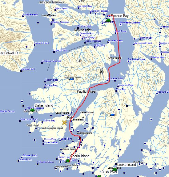 a map showing the route from Rescue Bay to Cecila Island, British Columbia