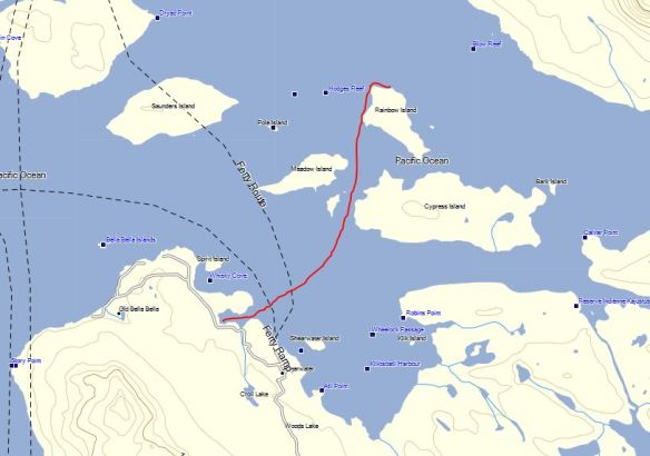 a chart with a route from Rainbow Island to Shearwater, British Columbia