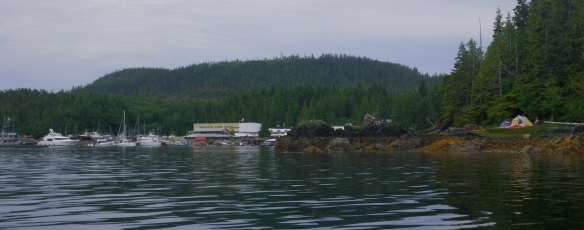 The coastal community of Shearwater, British Columbia, with a campsite on the right