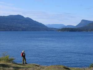 Admiring the view of Saltspring Island from the trail around Portland Island