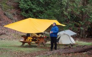 a camper at Shingle Bay, North Pender Island, Gulf Islands National Park