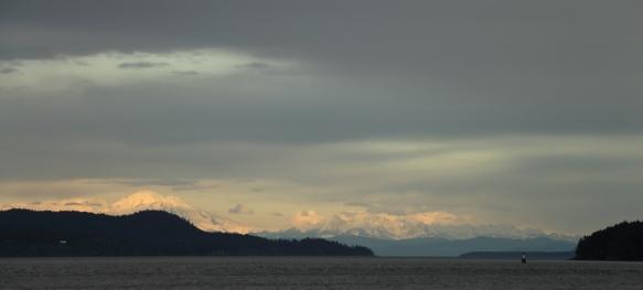 Washington's Cascade Mountains seen from Arbutus Point, Portland Island, BC