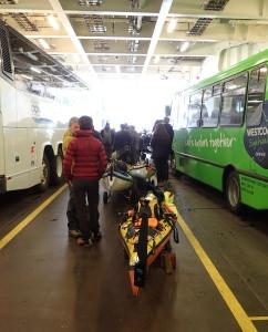 sea kayaks on portage wheels aboard a car ferry