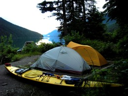 a tent site at the southeast end of Isaac Lake, Bowron Lake Provincial Park, British Columbia