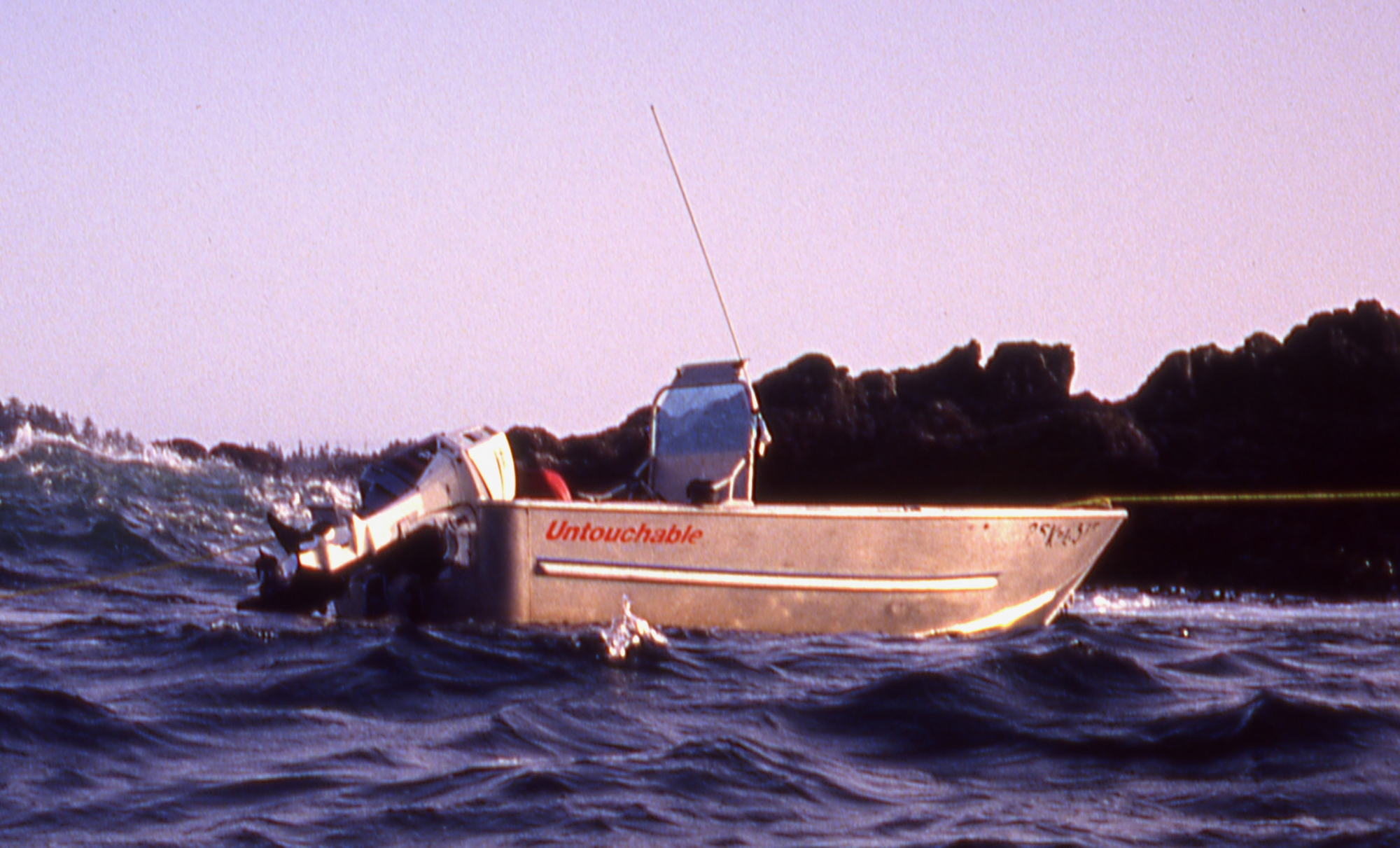 """a close up of an aluminum boat called """"Untouchable"""""""