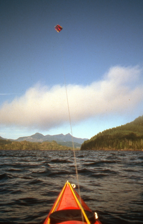 kite sailing a kayak