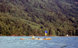 a sea kayak sailing