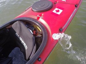an electric pump in a sea kayak